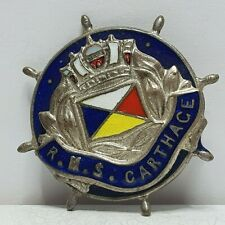 P&O line RMS Carthage ship wheel enamel badge sold on ship