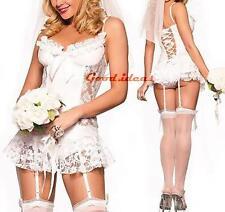 Sexy Womens Bridal Honeymoon Lingerie Intimate Apparel G-String Veil Garter Set