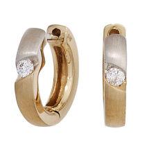 JOBO Creolen rund 585 Gold Gelbgold bicolor mattiert 2 Diamanten Brillanten Ohrr