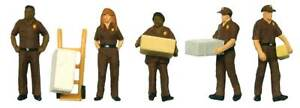 Walthers SceneMaster HO Scale Figures/People UPS Delivery Crew 5-Pack with Cart