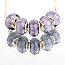 Bling 5pcs SILVER MURANO bead LAMPWORK For European Charm Bracelet