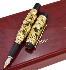 Jinhao Dragon Phoenix Fountain Pen , Luxury Golden Writing Pen & Wooden Gift Box