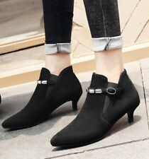 Womens Slim Heel Ankle Boots Pull On Pumps Pointy Toe Wedding Shoes Plus Size