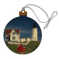 Nubble Lighthouse Maine ME Wood Christmas Tree Holiday Ornament