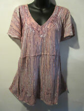 Top Fit XL 1X 2X Plus Tunic Purple Marble Tie Dye Sequin V Neck A Shape NWT 5780