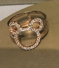 New Disney Parks 18K Rose Gold Plated Cz Mickey Icon Ring By Crislu Sizes 5-9