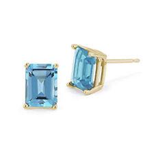 Earrings Topaz 9ct Gold Emerald Cut Claw Set Stud Earrings
