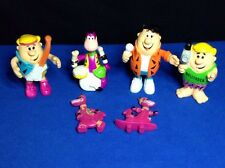 6) THE FLINTSTONES BEDROCK BAND PVC BENDABLE FIGURE POST CEREAL TOY SET H-B 1991