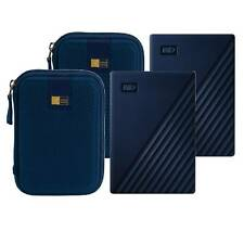 2 WD 2TB My Passport for Mac USB 3.0 External Hard Drive (Blue) + 2 Cases