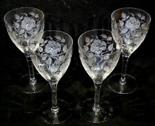 4 Vintage MORGANTOWN Etched Roses AMERICAN BEAUTY Glass Stems TEA WATER GOBLETS