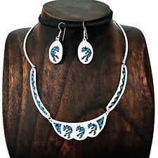 Hand Made Silver Turquoise Kokopelli Necklace Earrings Mesoamerican Taxco Mexico