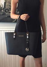 NWT Michael Kors Jet Set Travel Top Zip Tote Black Saffiano Leather Bag $278