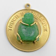 "Golden Buddha Pendant with Jade Buddha ""Touch Me For Luck"" - Rare Collectible"