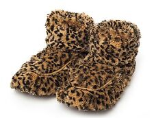 Intelex cozy boots leopard fauve chauffants micro-ondable fourrure lit chaud chaussons
