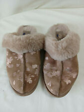 Ugg Scuffette II Floral Foil Slippers  - In Tan/Gold - Size 5