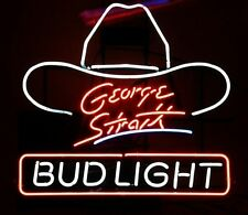 "Bud Light George Strait Hat Country Music Neon Sign 17""x14"""