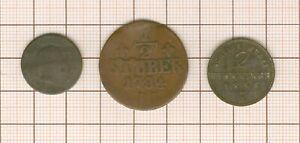 allemagne Berg 1/2 stuber 1784 + 2 pfennig 1853 + 1 silber groschen 1842