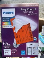 Philips Wiz Led Full Multi Color Wi-Fi Smart Flood Light Bulb Dimmable 65W Br30