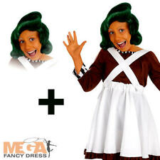 Oompa Loompa + Wig Girls Fancy Dress World Book Day Kids Childrens Costume New