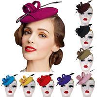 Handmade Women Feather Wool Felt Tilt Fascinator Pillbox Hat Cocktail Party A145