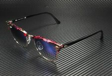 RAY BAN RB3016 12573F Clubmaster Spotted Grey Violet Clear Blue 51 mm Sunglasses