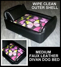 ZIPPY MEDIUM BUTTERFLY DIVAN DOG BED FAUX LEATHER WASHABLE COTTON PRINT COVER