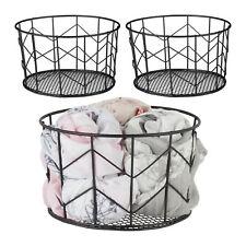 3 x Drahtkorb schwarz Aufbewahrungskorb Metall Allzweckkorb Wire Basket Dekokorb