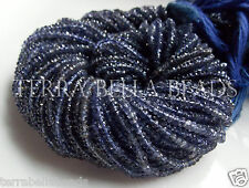 "12.5"" natural blue IOLITE gem stone faceted rondelle beads 3mm WATER SAPPHIRE"
