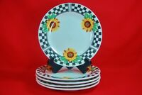 """Tabletops Unlimited SUNNY Sunflower Salad Plates (5) 7-5/8"""""""