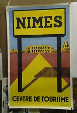 AFFICHE ORIGINALE ANCIENNE CENTRE DE TOURISME NIMES GARD J BOUCHE 1953 BRUGUIER