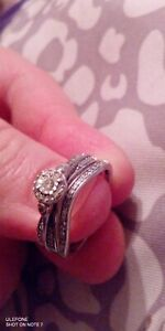 Real solid white gold 10 k 3.5 CT Engagement Ring Set size 7.5 fine jewelery