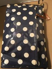 Kate Spade Blue White Polkadot Cosmetic Makeup Pouch Bag Large