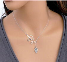 Women Charm owl Choker Chunky Statement Bib Pendant Necklace Simple Jewelry