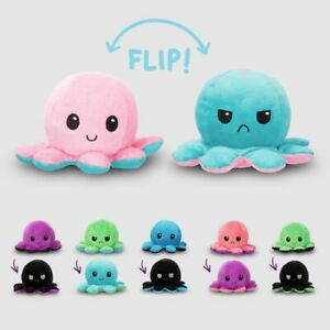 4PC Reversible Octopus Plush Toy Adorable 10cm Double-Sided Doll, Happy Angry Oc