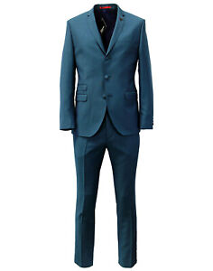 Gibson Tailored 2Pc Two Tone Twill Suit Teal BNWT Designer Mens Formal Clothing
