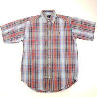 Ralph Lauren Womens Shirt Top LARGE Short Sleeve Check Cotton Button Down
