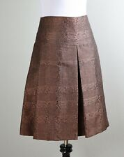 BURBERRY LONDON $990 Bronze Sheen Pleated A-Line Lined Check Skirt Size US 6