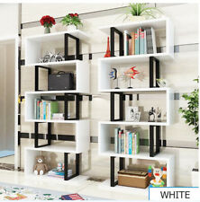 S-Shape 5 Tiers Storage Display Shelf Unique Home Furniture White Waved