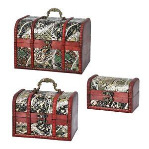 Set of 3 Animal Pattern Faux Leather Treasure Chest Storage Nesting Box
