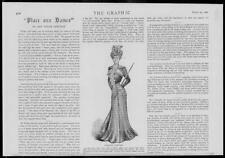1900 Antique Print - FASHION  Walking Costume Black Cloth Taffeta Skirt   (111)