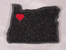 Embroidered Black Glitter Sparkle Oregon OR Love State Patch Iron On Sew On USA