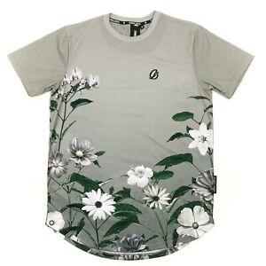 Criminal Damage Saux Curve T-Shirt Floral Print Grey Mens Size M