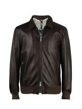 Mandelli 100% Leather Dark Brown Bomber/Flight Jacket 44US/54EU
