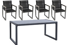 Top Quality Charcoal Grey Large Table and Chairs Patio Terrace Garden Furniture