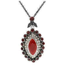 Vintage Style Wine Dark Red Silver Teardrop Pendant Corn Chain Necklace N494