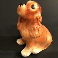 """COCKER SPANIEL DOG FIGURINE VINTAGE PORCELAIN 1940'S 6"""" RED BROWN MCM"""