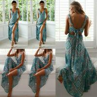 AU Womens Summer Boho Maxi Dress Evening Cocktail Party Beach Long Sundress