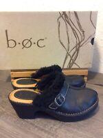 BOC Born Concept Black Pebbled Leather Fur Trim Platform Clogs 7/38 PreOwned