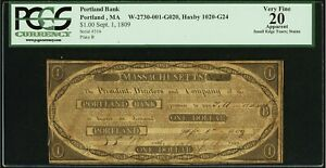 PORTLAND, MAINE  ,  THE PORTLAND BANK   $ 1 NOTE 1ST BANK IN MAINE DATED 1809