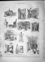 Original Old Antique Print 1892 Millbank Prison Cell Infirmary Kitchen Victorian
